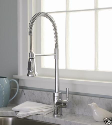 Industrial Faucet : Industrial style chrome pull down kitchen sink faucet