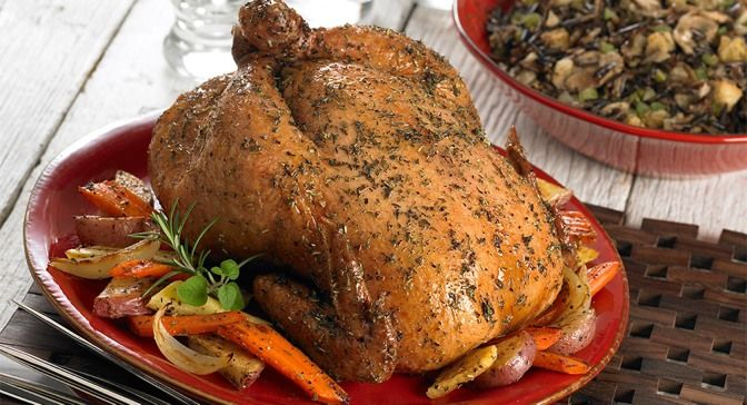 Roast chicken and vegetables are perfectly seasoned with Herbes de ...