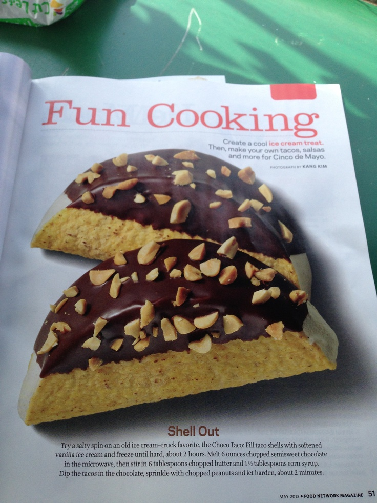 Choco Taco recipe from May 2013 Food Network Magazine