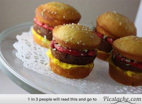 Burger cupcakes | Cakes Cookies and other Yummies! | Pinterest