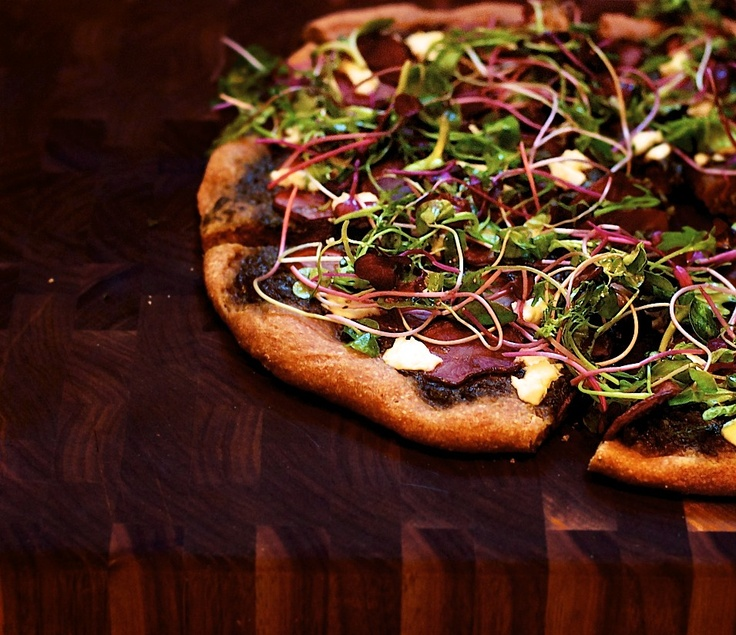 Pink Potato Pizza with Goat Cheese and Microgreens (Greens & Seeds)