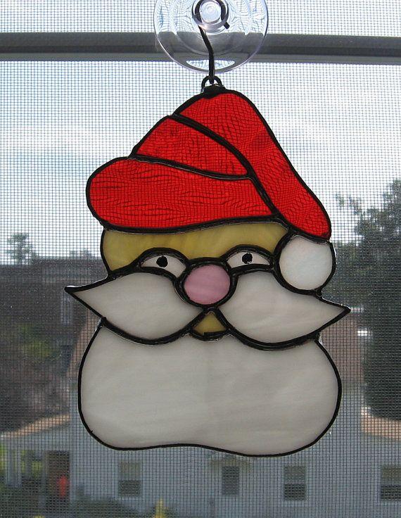 Santa claus stained glass suncatcher