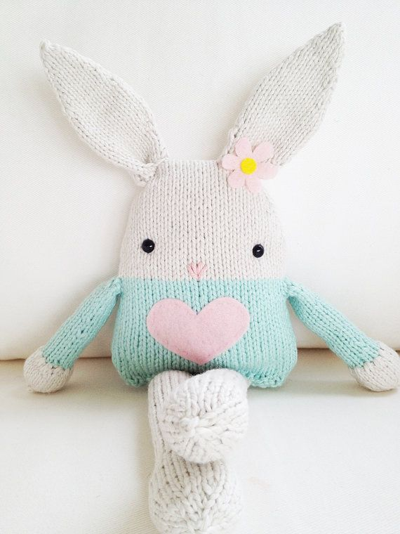 Knitting Patterns For Toy Rabbits : Bunny Knitting Pattern - Toy Bunny Softie Pattern - PDF