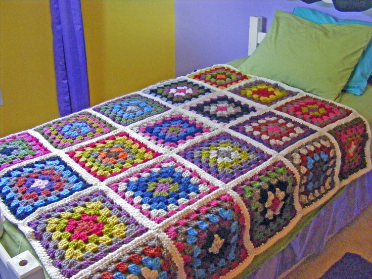 Crochet Quilt Squares : Crochet Granny Square Blanket, Twin or Full Bed Crochet Granny Square ...