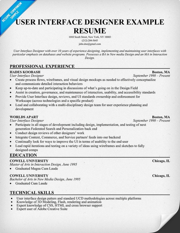 user interface designer resume example uid - Ui Developer Resume