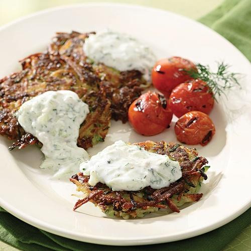 Zucchini-Potato Latkes With Tzatziki #Holidays #Hanukkah #Veggies