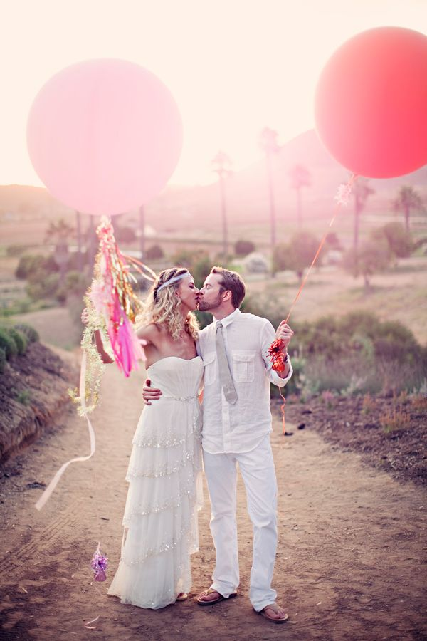 #newlyweds with pink balloons