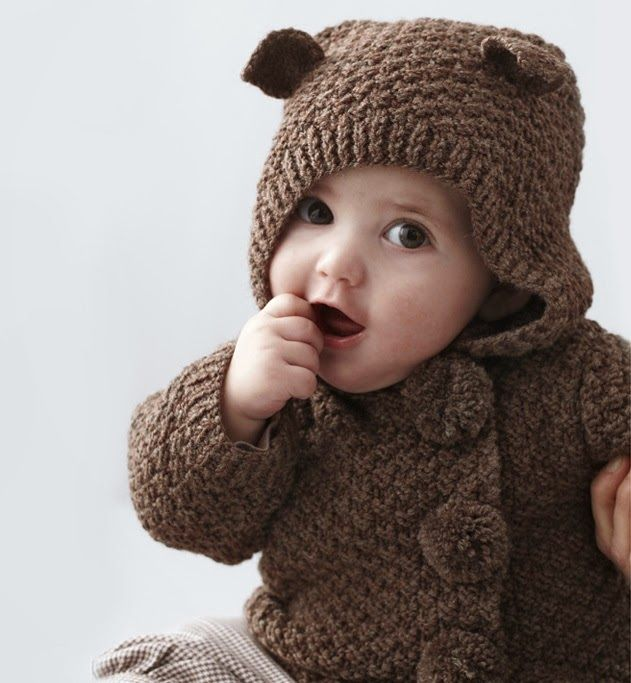 Knit baby bear hoodie Crafts Pinterest