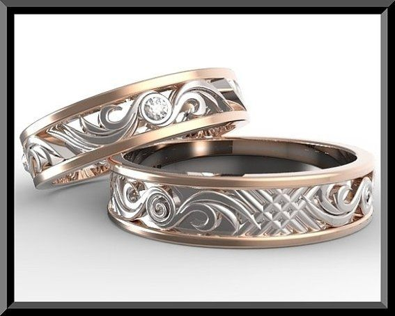 Hand Crafted His And Hers Wedding Bands,Matching Wedding Bands Set ...