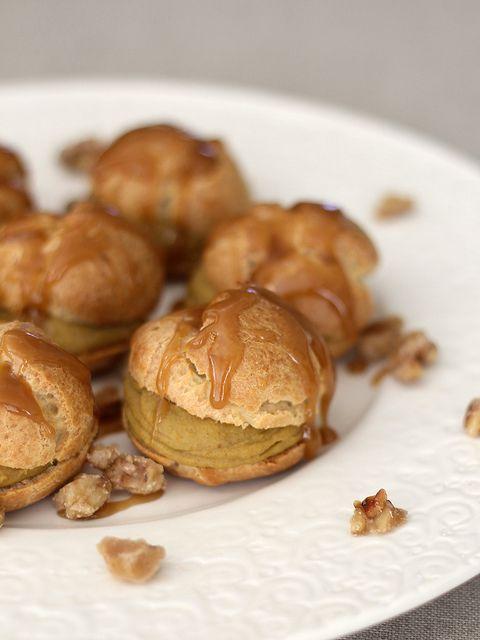 Pumpkin Custard Profiteroles with Maple Caramel and Sugared Walnuts ...