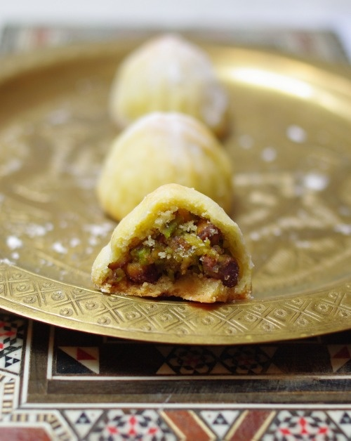 Ma'amoul, which is stuffed date cookies. This one has pistachios in it ...