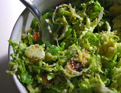 Shredded Brussels Sprouts Salad with Walnuts and Manchego Cheese