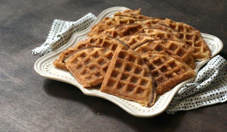 Waffles coated with cinnamon sugar. #PureWowRecipes
