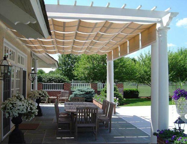 Pergola with retractable awning renovation inspiration pinterest decks fabrics and light