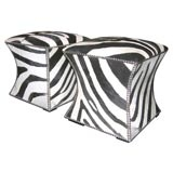 PAIR OF ZEBRA CUBES WITH NICKEL NAIL HEAD DETAILING