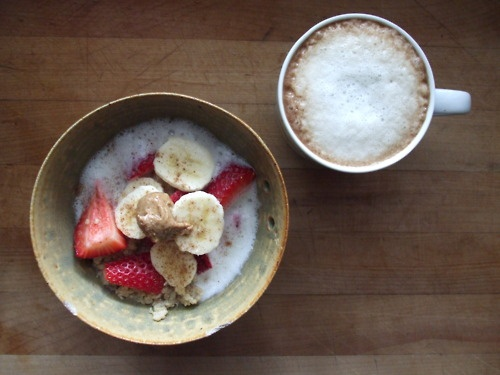 ... , with strawberries and bananas, almond butter and pumpkin pie spice
