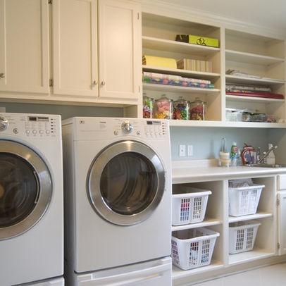 Open shelves laundry room pinterest for Open laundry room ideas
