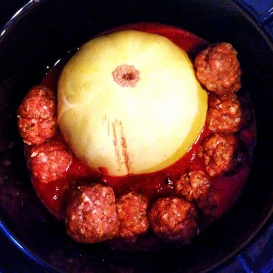 Paleo Spaghetti Squash & Meatballs Crockpot, spaghetti squash, turkey ...