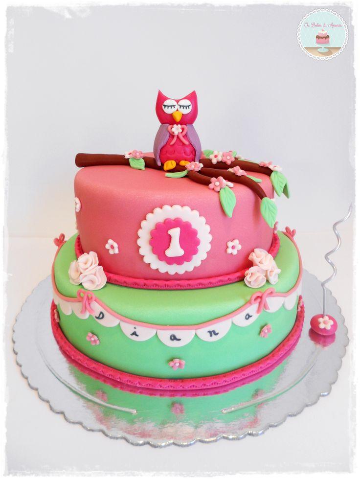 Owl First Birthday Cake  Os Bolos da Anocas  Pinterest