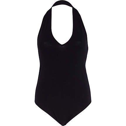 Black halter neck bodysuit clothing pinterest
