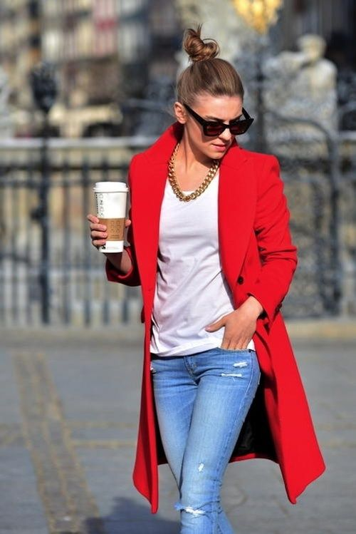 dress up casual look with a bold color coat and over the top jewelry .