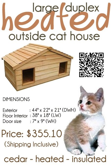 The Large Duplex Heated Outside Cat House, huge enough to house 4 ...