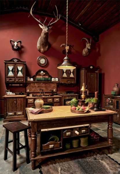 hunting lodge style decor - I think all men would love mounted animal heads in the kitchen!