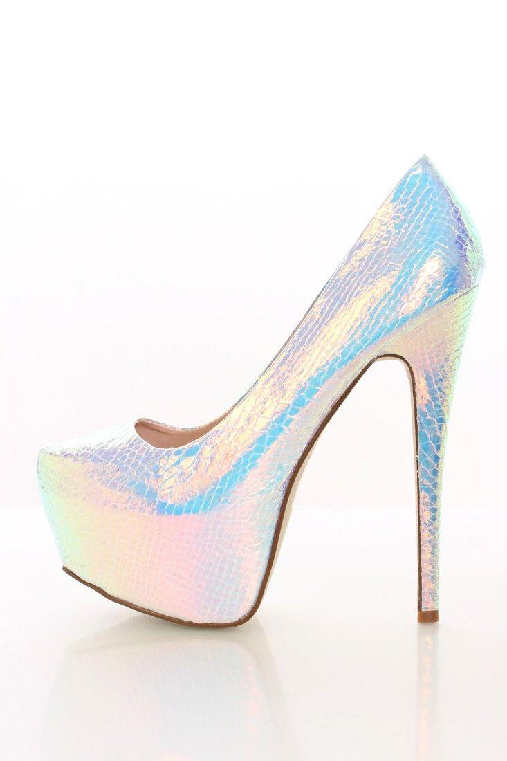 Iridescent Silver Heels