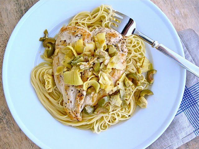 Chicken Artichokes & Olives with Angel Hair Pasta | Quick and Easy ...