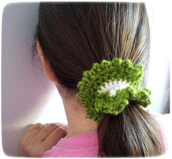 Crochet Hair In Ponytail : Crocheted Scrunchie, ponytail holder, hair accessories for Girls Teens ...