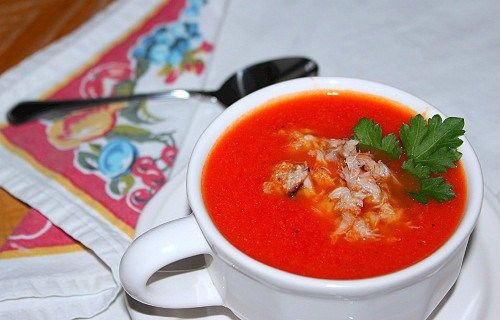 Roasted Red Pepper and Tomato Soup with Crab There's nothing to stop ...