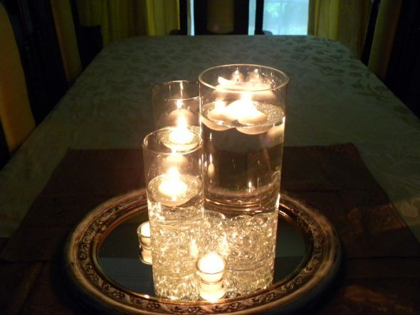 Pin by chantelle guidry on crafts pinterest - Candle and mirror centerpieces ...