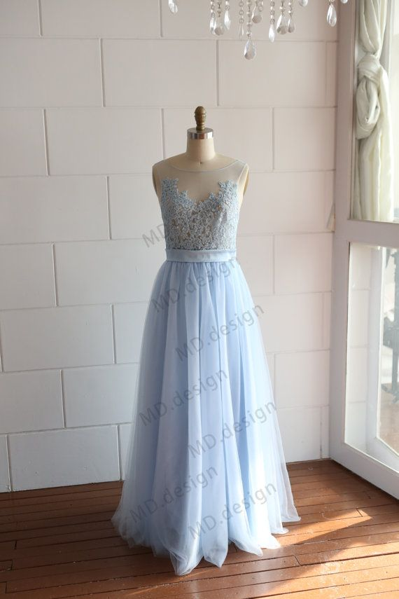 Mint light blue sheer see through tulle lace wedding dress for Light blue lace wedding dress