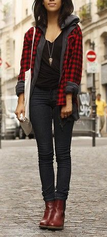 How to wear the Tomgirl Flannel Cardigan: make it work with a hoodie  // September 2013 Golden Tote
