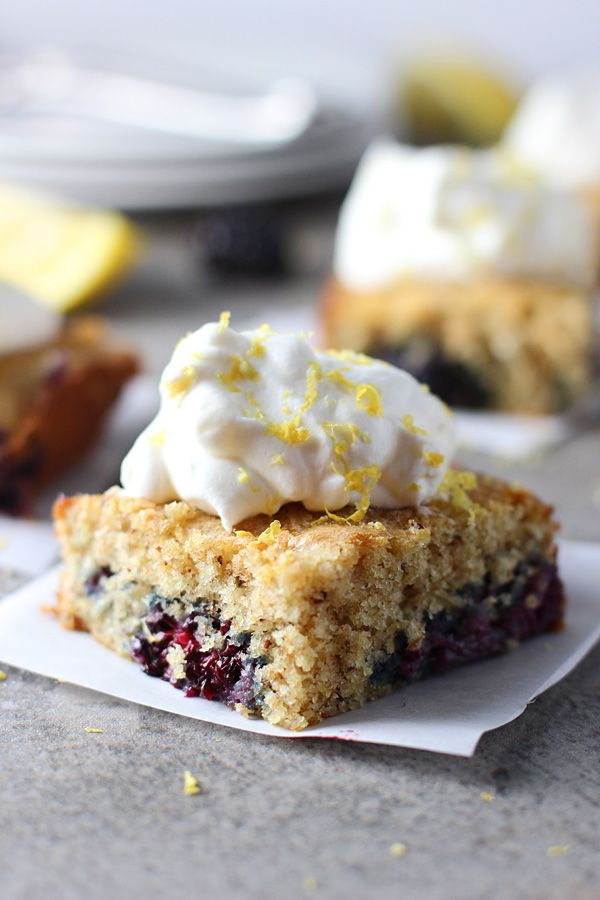 Blackberry Buttermilk Cake with Lemon Scented Whipped Cream