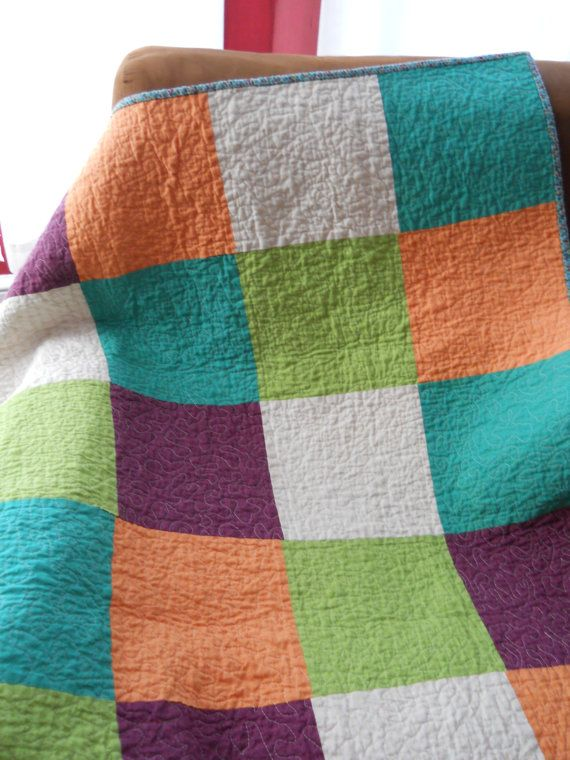 BIG BLOCK BABY Quilt Sweet and Sour Lovey by SkyLineAttic on Etsy