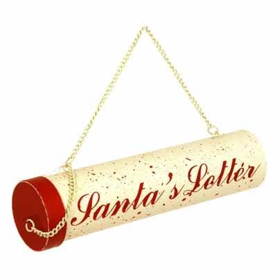 """55-7102 Letter To Santa Holder Ornament Tin 6"""" (Each)"""
