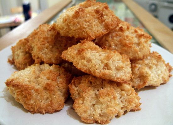 coconut macaroons. Made with egg whites, unsweetened shredded coconut ...