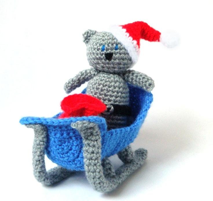 Amigurumi Pattern - Sleigh Santa Cat - Christmas Crochet. £3.99, via