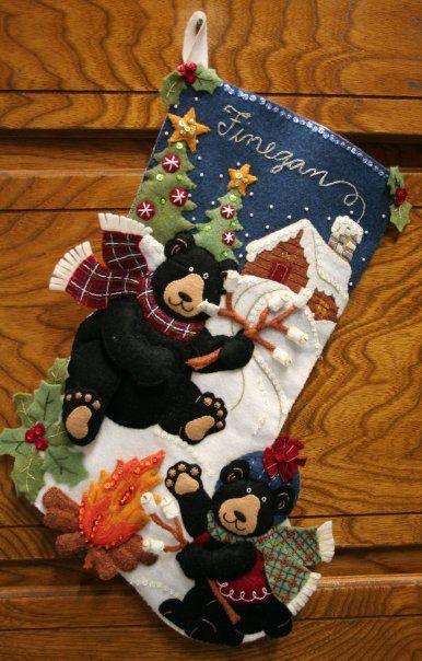 Bucilla Black Bear Bonfire stocking kit   MerryStockings has it in stock.