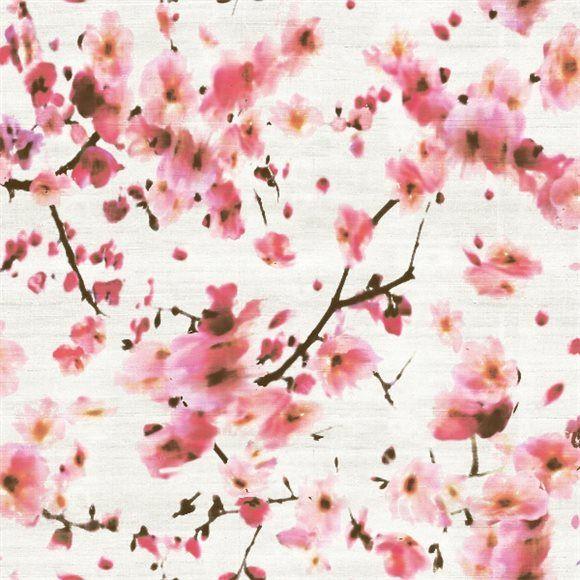 papier peint motif fleuri rose kandy d elitis. Black Bedroom Furniture Sets. Home Design Ideas