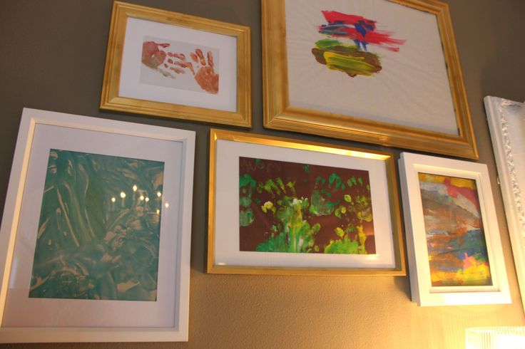 Frame fingerpaint or any artwork and use in gallery wall in child's room or playroom! #gallerywall #kidsart