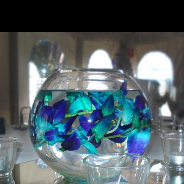 Centerpiece ideas w blue dendrobium orchids floating