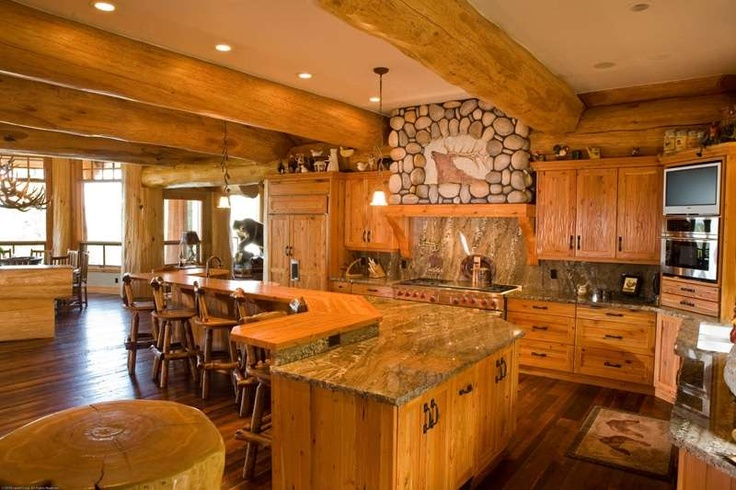 Log home kitchen a dream kitchens pinterest for Log home kitchens gallery