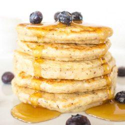 Light Fluffy Vegan Pancakes. Substitute flour with Gluten free blend.
