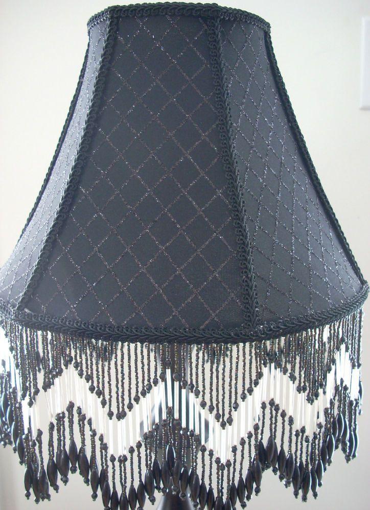 black lamp shade with beaded fringe. Black Bedroom Furniture Sets. Home Design Ideas