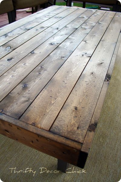 DIY coffee table. Love the stain.