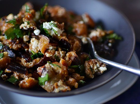 Roasted Eggplant Salad with Smoked Almonds & Goat Cheese | Recipe