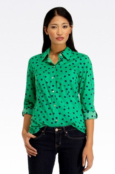 Wrinkle-Free Dot Blouse By Foxcroft 34