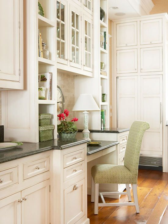 Beautiful cabinetry/desk/flexible counter space